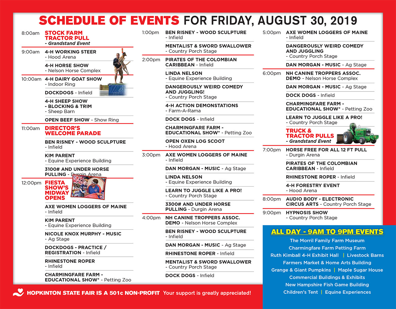 HSF Schedule of Events - Friday, 30 Aug 2019 - Hopkinton